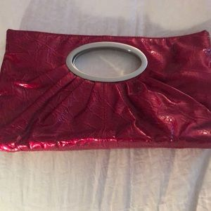 Express Red patent leather clutch